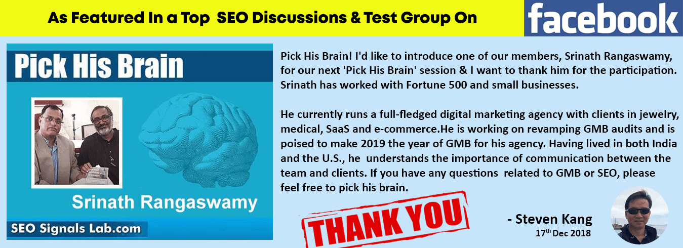 DigitalBull GO - FB Pick His Brain Srinath Rangaswamy