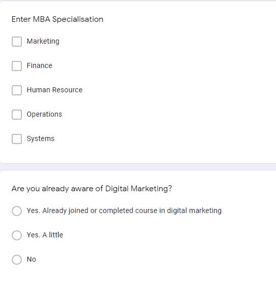 Digital Marketing Workshop Questionnaire