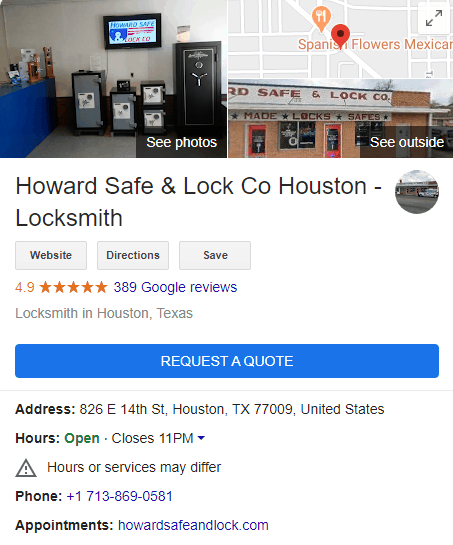 howard locksmith gmb listing