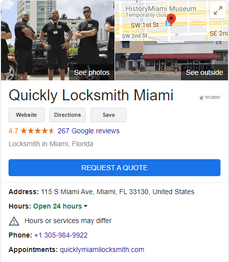 quickly locksmith gmb listing