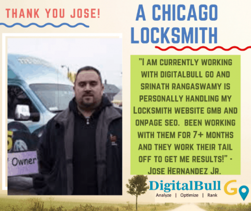 Jose Hernandez Chicago Locksmith DigitalBull GO Testimonial