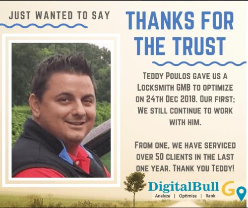 Teddy Poulos Charlotte Locksmith DigitalBull GO Testimonial